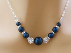 Bleu collier de perles, strass perle collier mariée, demoiselle d'honneur bleu collier, bleue mère de la mariée bijoux, bijoux de mariage bleu