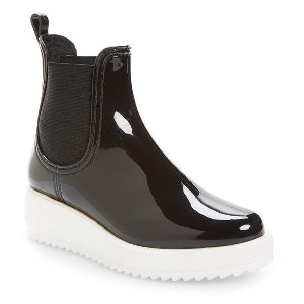 Women's Jeffrey Campbell Hydro Chelsea Platform Rain Boot (€52) ❤ liked on Polyvore featuring shoes, boots, black shiny white, wellies boots, white rubber boots, black rubber boots, platform boots and wellington boots