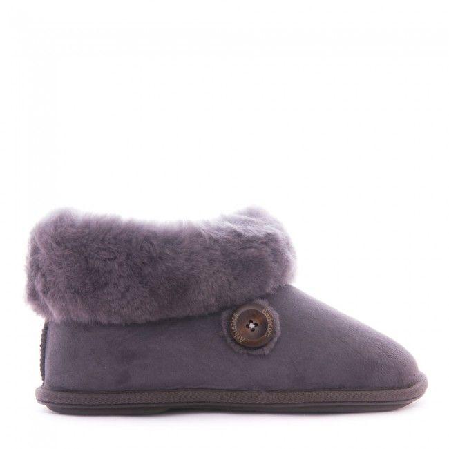 Lauren - Sheepskin Slipper Boots - Grey - Side
