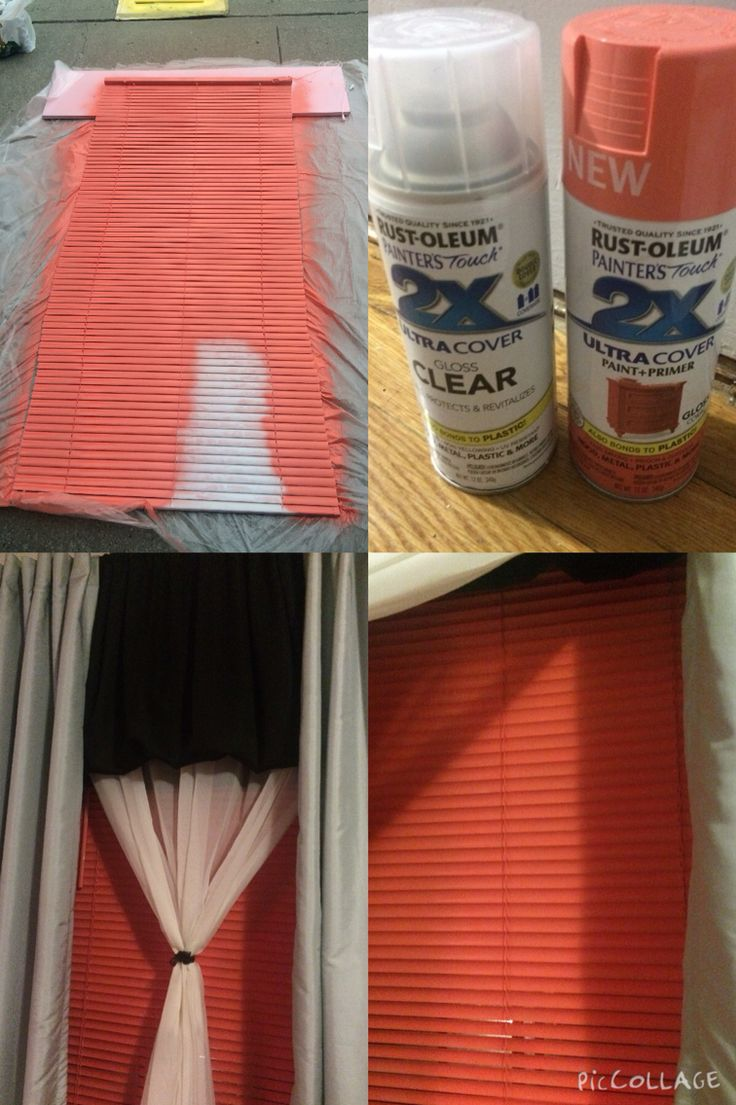 I spray-painted the plain white blinds with rust oleum painters touch ultra cover paint and primer  (Coral) to match my accent color in my bedroom. Make sure you let dry for about 20 minutes then spray paint a clear sealant. Let try and additional 24 hours before hanging.