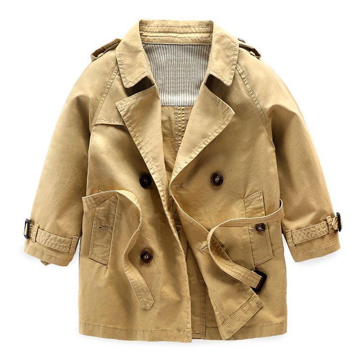 Baby Boys Trench Coat Children Long Sleeve Outwear Kids Jackets Overcoat