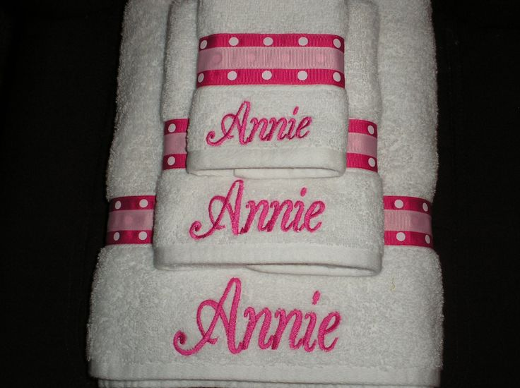 Embroidered towels with ribbon