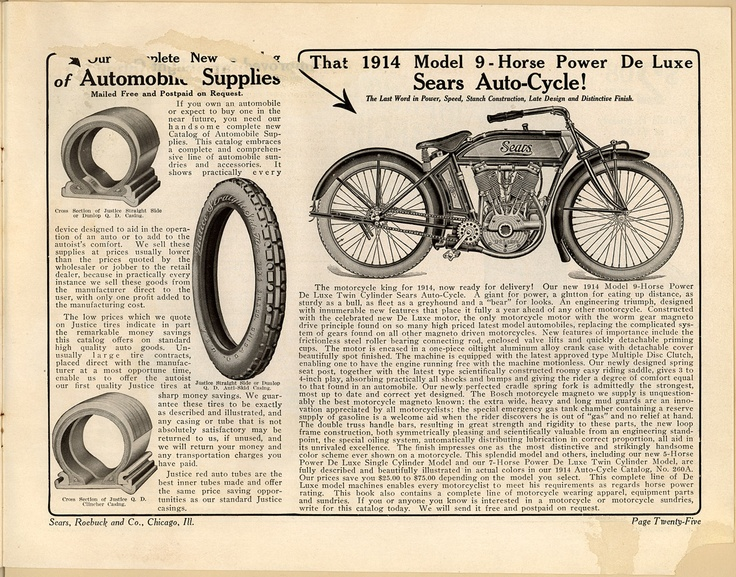 Sears Autocycle Motorcycle Ad Sears Motorcycle