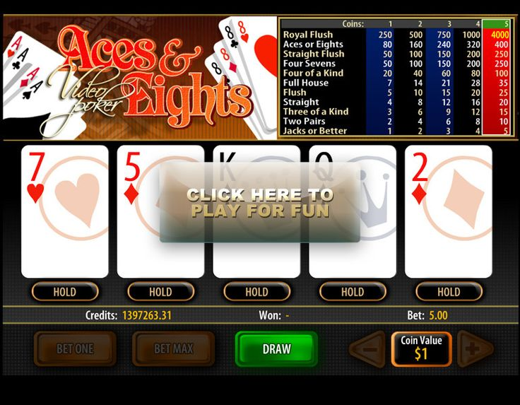 Play the popular Aces and Eights video poker online and win big not only by getting the usual winning poker hands also by getting a great payout on four Aces or Eights as well as on four Sevens.