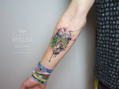 Watercolor Owl Tattoo by Julia Dumps - www.linzer-tattooatelier.at