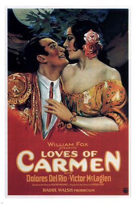 The loves of Carmen MOVIE POSTER Raoul Walsh 1927 24X36 rare hot vintage