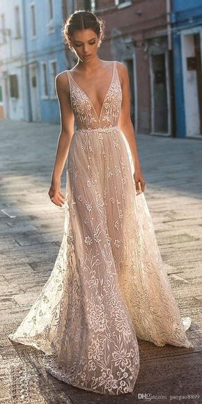 Gali Karten 2018 A line Boho Wedding Dresses Bridal Gowns Sexy Bohemia Deep V Neck Lace Appliqued Backless Tulle Floor Length with Beading
