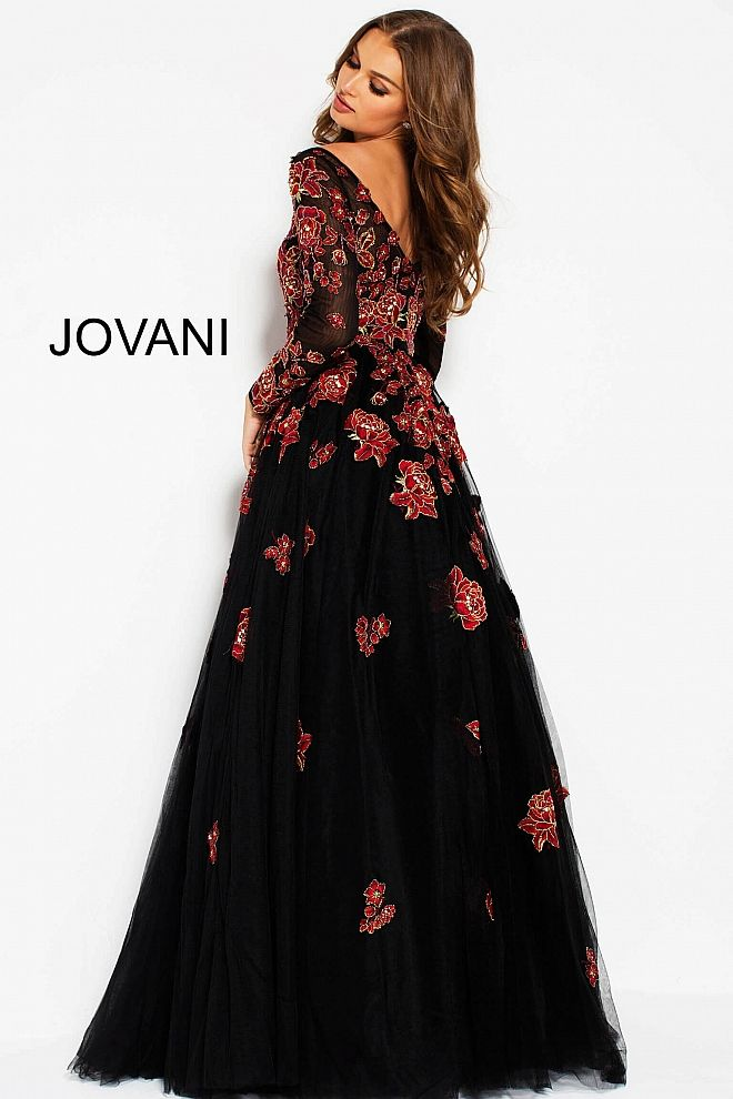 fb4767c07 Black Red Floral Embroidered Long Sleeves Evening Gown 53088 | Fat ...