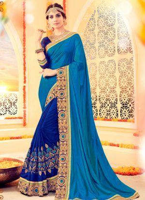 Heavy Designer Brocade Blue And Royal Blue Colored Saree