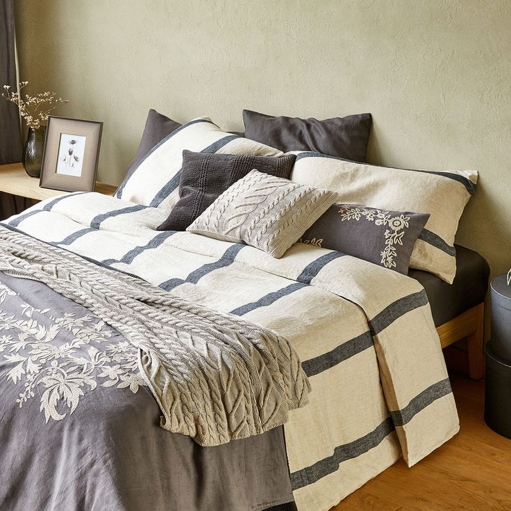 Image 2 of the product Striped linen duvet cover with herringbone effect