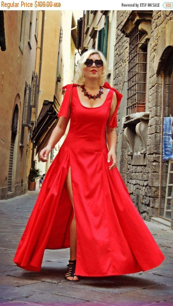 ON SALE 25% OFF Extravagant Red Dress / Cotton Red Dress by Teyxo