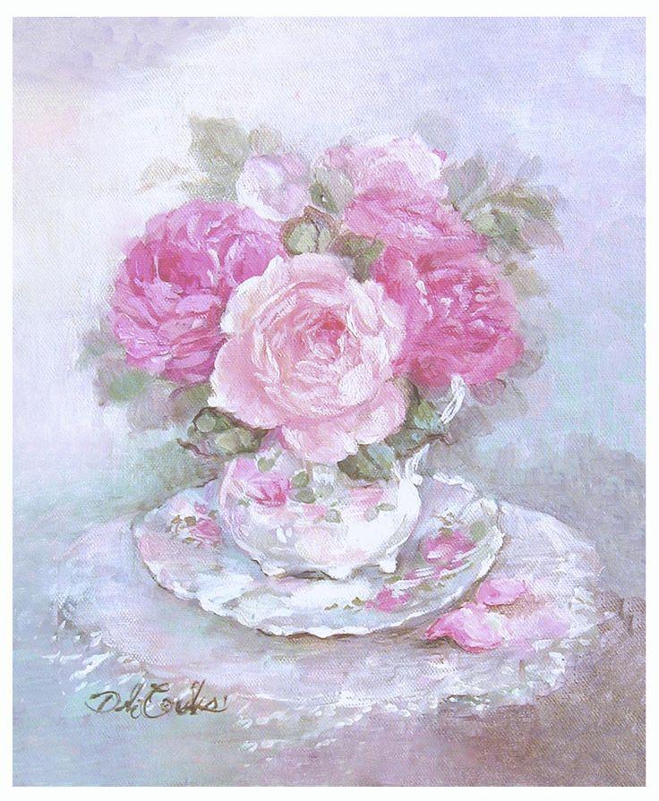 Teacup and Roses - Debi Coules Romantic Art