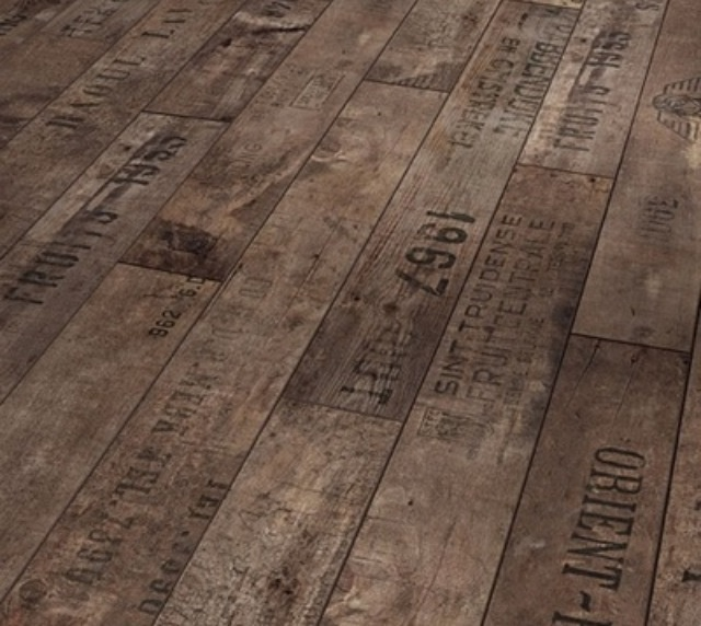 Wood floors made from vintage wine crates!! Amazing. This could go on a wall too and still look incredible.