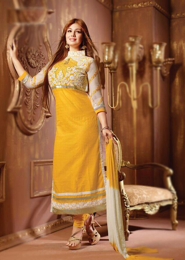 Product Description  Item Code:81 | Celebraty :Ayesha Takia | Color: Yellow |Duppata :Siffon |Material: Cotton | Work : Embroidaery | Catalog :2806