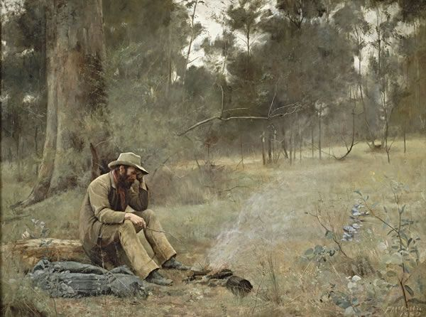"""Down on his luck"" is one of the first of a series of large-scale figure paintings by Frederick McCubbin (1889), inspired by Australia's early history. The painting depicts an unlucky gold prospector contemplating his future as he sits by a small campfire."