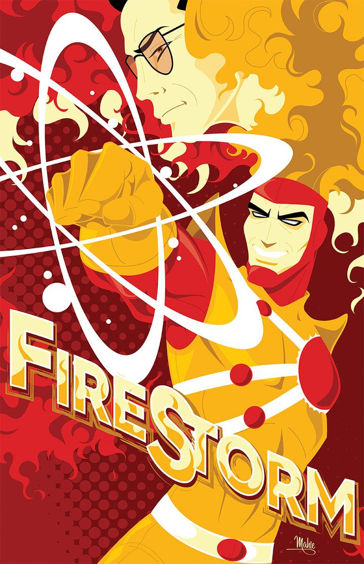 Ronald Ronnie Raymond and Professor Martin Stein make up Firestorm The Nuclear Man –– Art by Mike Mahle on deviantART