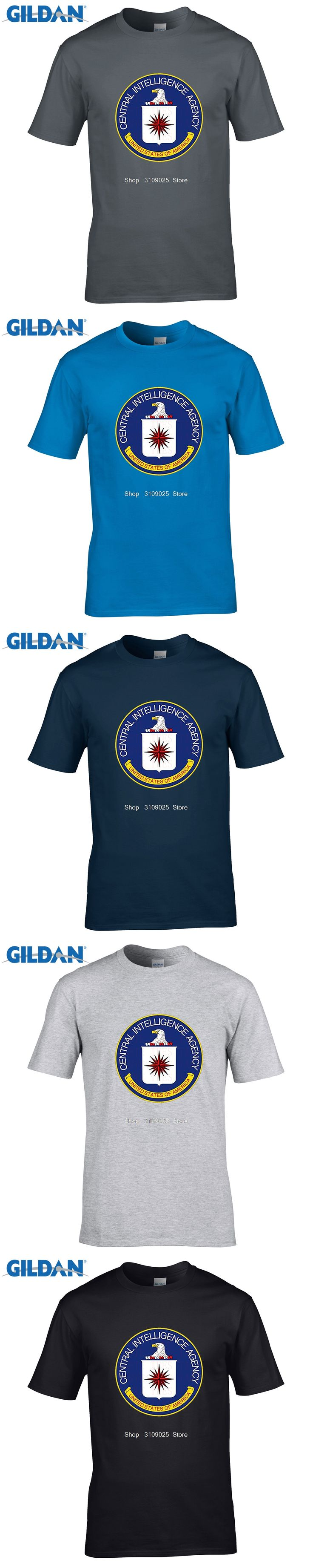 GILDAN Summer Mens CIA Central Intelligence Agency Simple T Shirt USA Navy Black Cotton O Neck Shirt Tops Brand Clothing