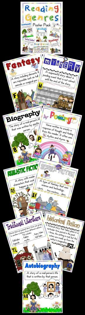 Posters to help your kids learn to recognize genres in reading and writing