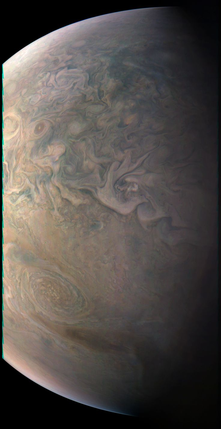 Junos Close Look at a Little Red Spot The JunoCam imager on NASAs Juno spacecraft snapped this shot of Jupiters northern latitudes. January 25 2017