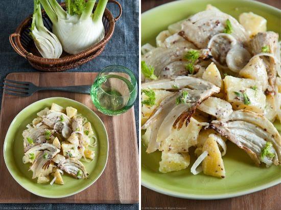 Insalata di patate, finocchi grigliati al rosmarino, condita con crema di mostarda e miele