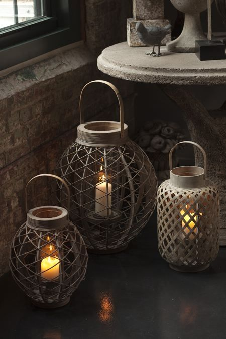 Asian Inspired Garden Lanterns With Glass Hurricanes ~ Love these!