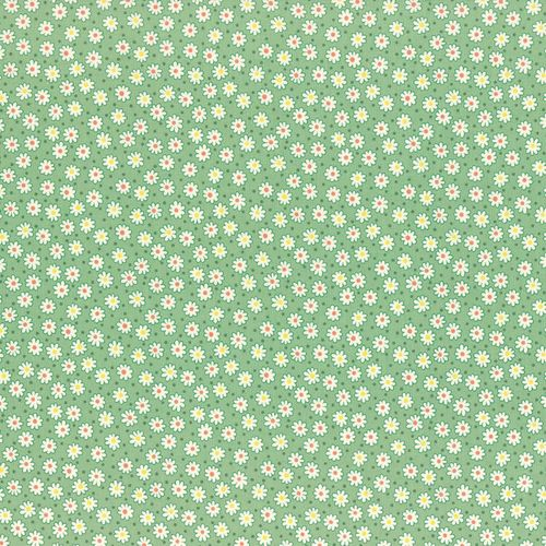 1930s Reproduction - Small Flowers Green