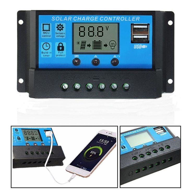 20/30A Amp 12V/24V Solar Panel Charge Controller Battery Regulator Solar USB