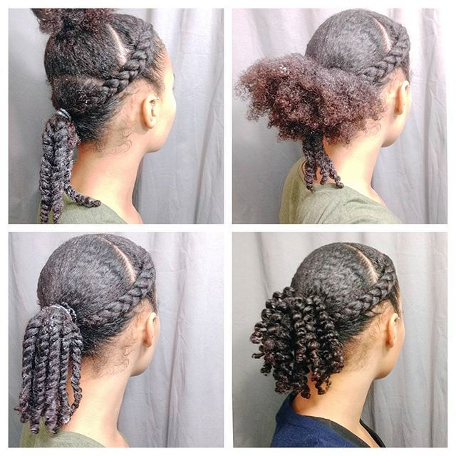 Hey friends! Here's a quick style I did recently.   After washing my hair I applied some @renpure leave-in conditioner and @teilainc hair and body butter to each section of hair. I braided the front two sections and created one low ponytail. I twisted the ends and added some ecostyler gel for extra hold and definition. I then gathered the remaining hair and created another ponytail around the first one and twisted the loose ends. Making separate ponytails makes it easier to get a really…