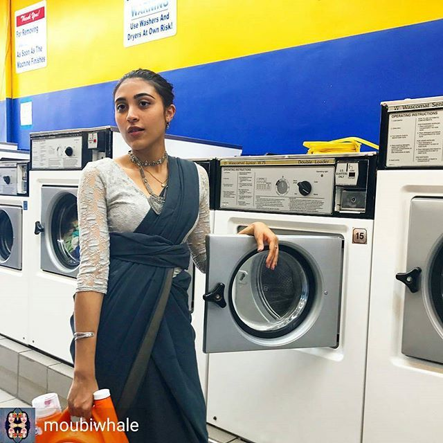 from @moubiwhale -  70/100 #100DaysOfDesi I'm not allowed to wash my cat's bed in our home laundry so here I am washing it at a laundromat .  Saree: idk Jhumkas: idk . . . #desi #southasia #southasian #culture #heritage #ootd #lookbook  #streetstyle #tradition #ethnic #ethnicity #bengali #bangladesh #bangladeshi #bangla #india #indian #pakistan #instastyle #fashiondiaries #ramadan #ramadankareem #ramadan2017 #ramadanmubarak #styles4you #bangladeshstreetstyle #sarinotsorry