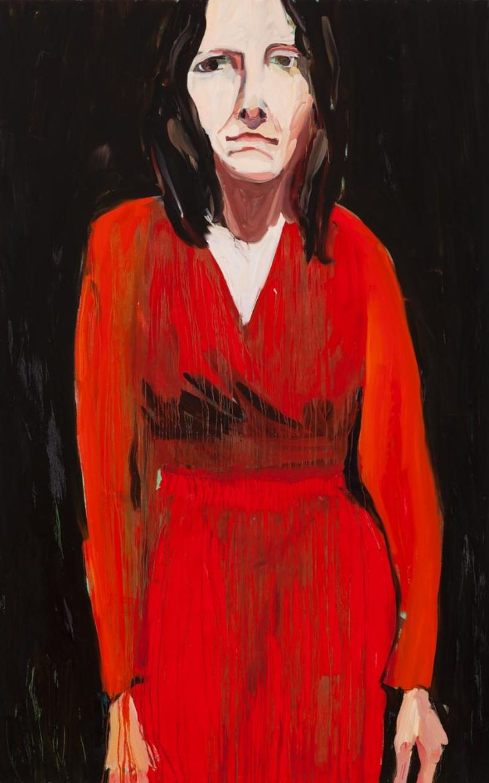 British artist Chantal Joffe Self-Portrait  in  Red  Dress  and  Orange  Cardigan,  2014