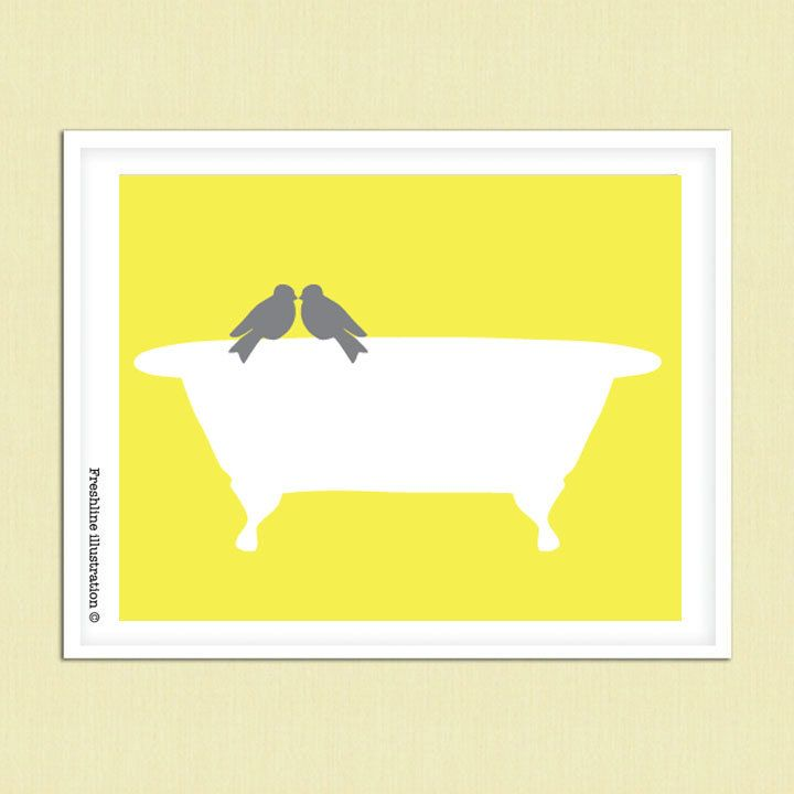 Yellow and gray art bathroom art decor love bird on for Bathroom decor etsy