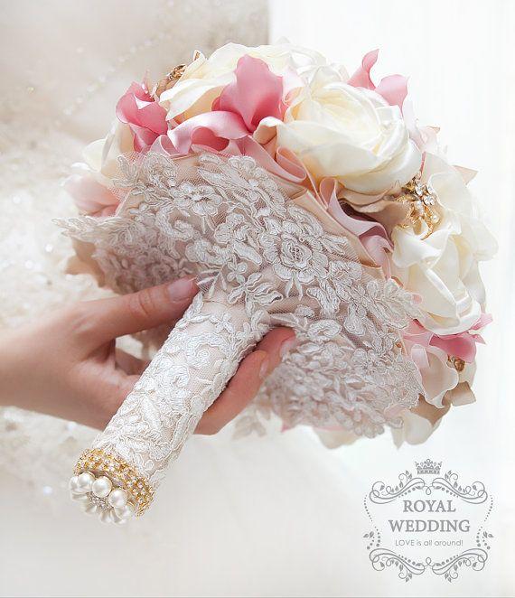 Ramo de novia broche ramo boda ramo ramo marfil rosa ramo ramo