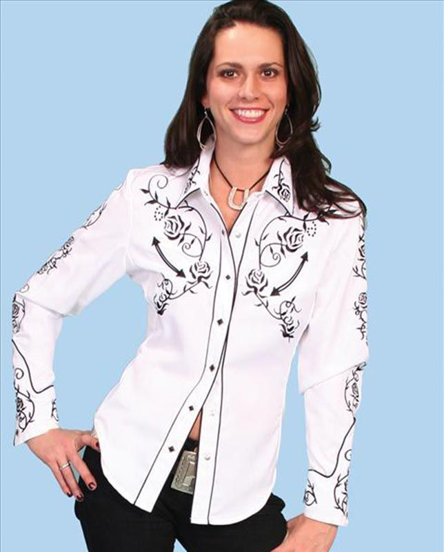 Womens Embroidered Western Shirt - Country Rose