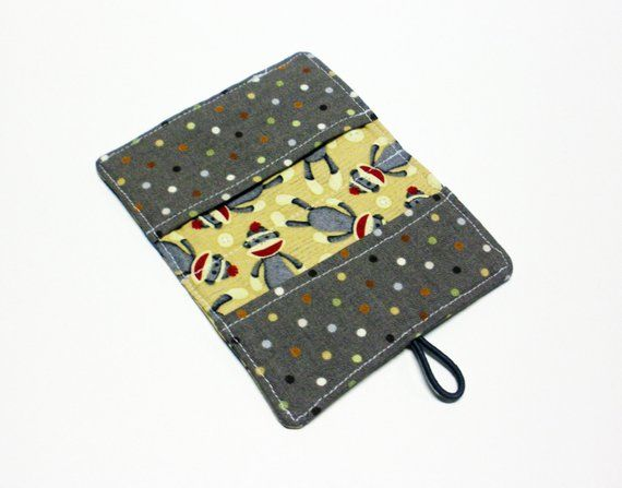 Beige Sock Monkey Fabric Business Card Holder, with Multi Color Small Dots on Grey – Credit Card Hol