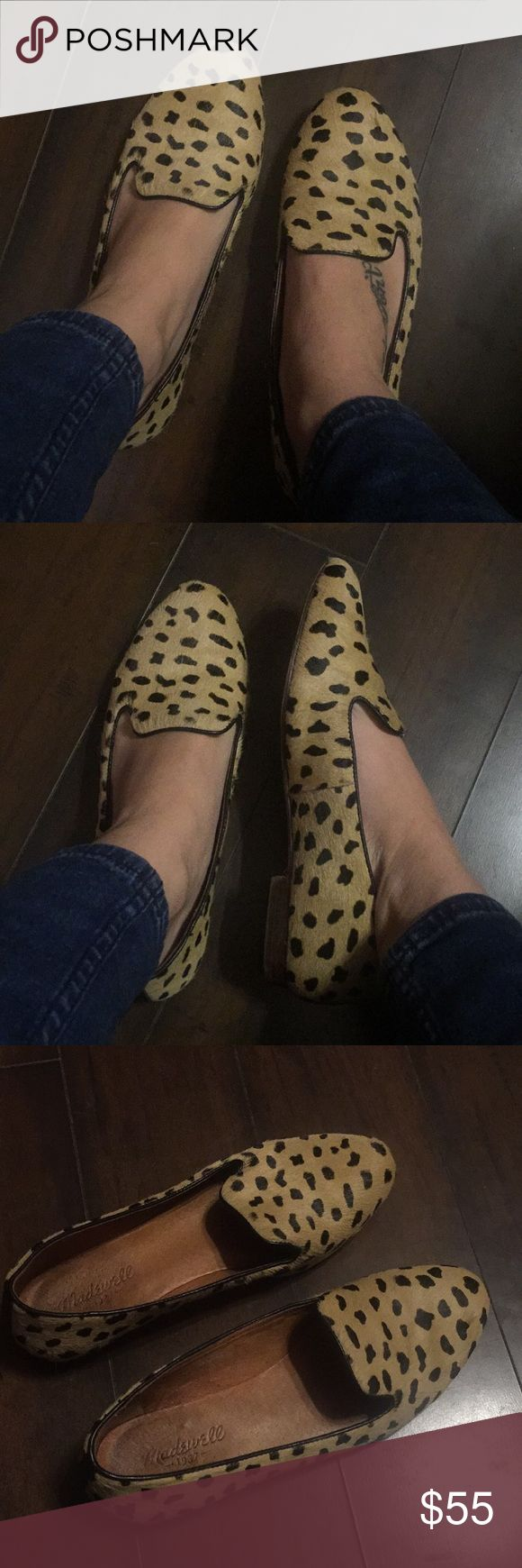Madewell cheetah pony hair flat loafers 8 Madewell pony hair cheetah animal print ballet slip on loafers / flats.  Great used condition.  Lots of life left.  No bald spots.  Run large. Size 8. Can fit me perfectly and I'm a 9. Madewell Shoes Flats & Loafers