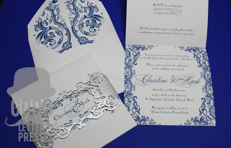 Wedding Invitation with silver lasercut belly band and lined envelope