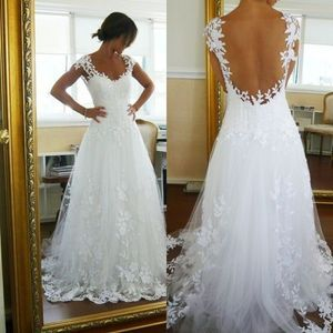 White Ivory Lace Backless Bridal Gown Proms Party Deb Evening Ball Wedding Dress | eBay  So pretty!!