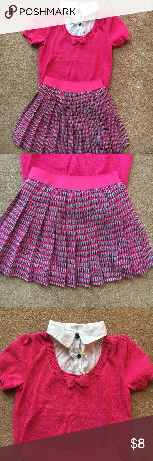 Preppy school girl outfit Girls size 5/6T preppy school girl outfit. Pleated skirt and collared shirt, so adorable and great condition Matching Sets