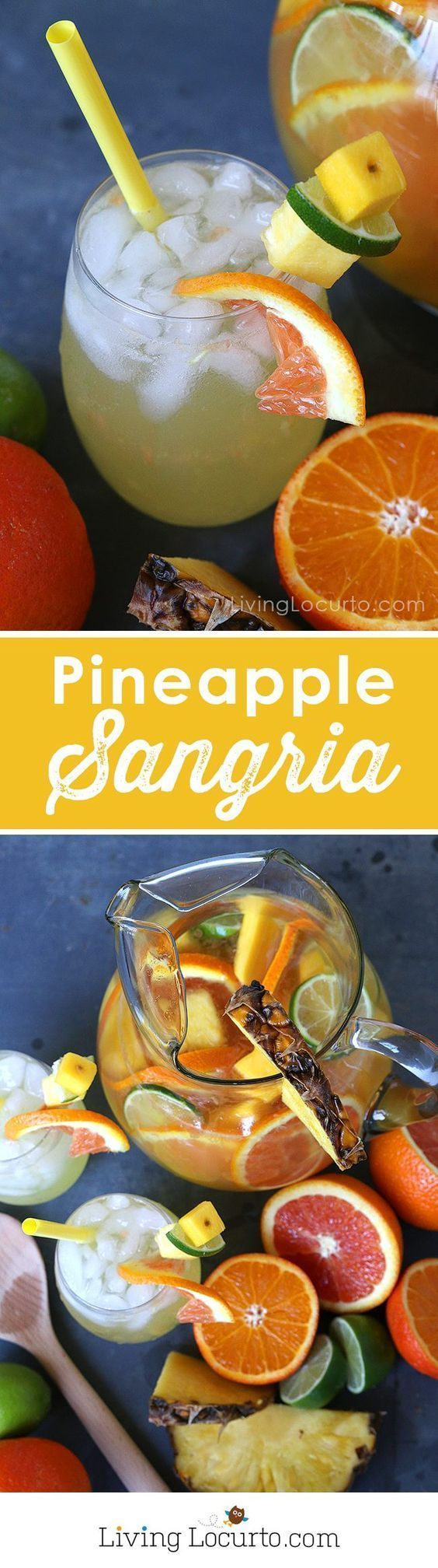 Put a tropical twist on the traditional white sangria with this fruity Pineapple Sangria recipe. A perfect drink for a luau party or sipping by the pool. A cocktail that makes you feel like you're at the beach! LivingLocurto.com  {wineglasswriter.com}