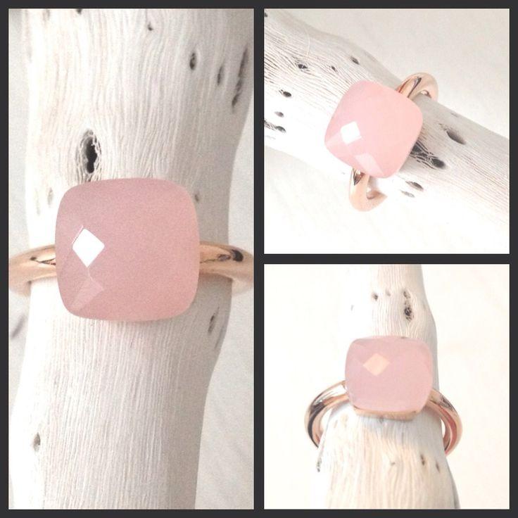 18 karaats rosé gouden ring (goldplated op 925 sterling zilver) met een zacht roze opaal steen...www.StudioBoe.nl