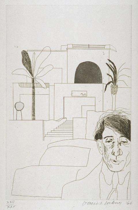 """'Portrait of Cavafy II' by David Hockney, 1966 © David Hockney. This is one of thirteen etchings for Illustrations for """"Fourteen Poems from C.P. Cavafy"""" (etching and aquatint on paper)"""