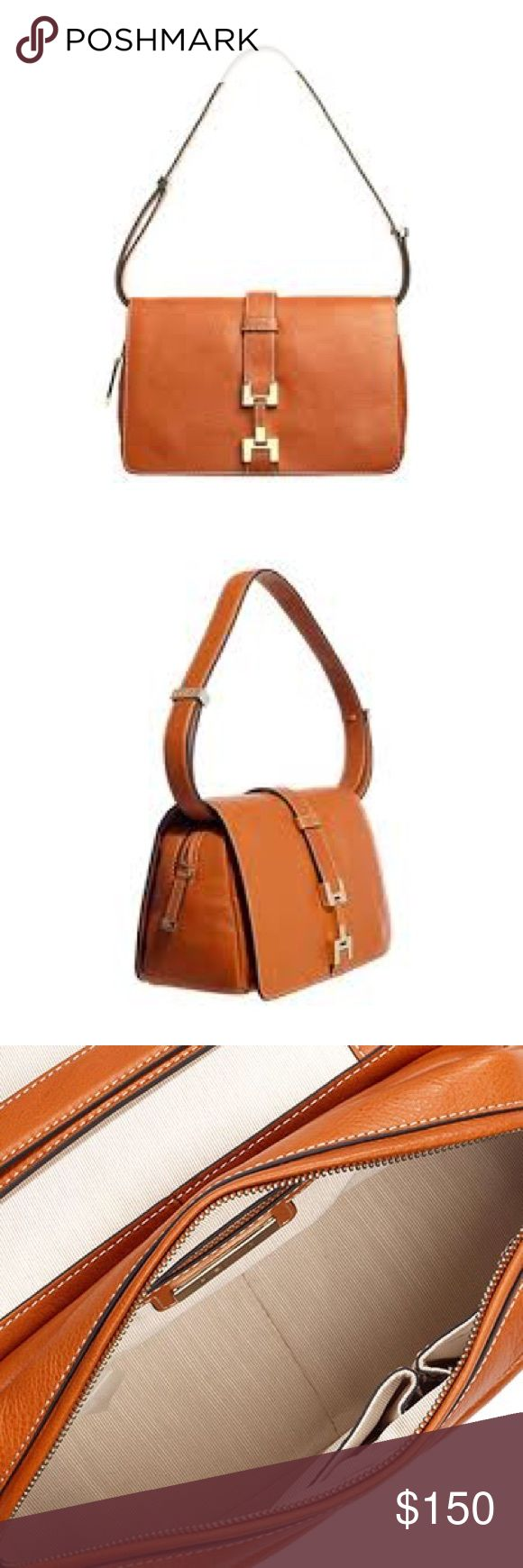 Reiss Orange Handbag with Adjustable Straps - Elegant Reiss Orange handbag perfect for spring / summer - Buckle detail in front and adjustable straps to convert to shoulder bag / crossbody  - Snap closure (two snaps) and zipper closure  - Two open pockets inside as well as one zip-pocket - Very gently used. A little mark on the strap from adjusting strap. Otherwise in perfect condition! Reiss Bags