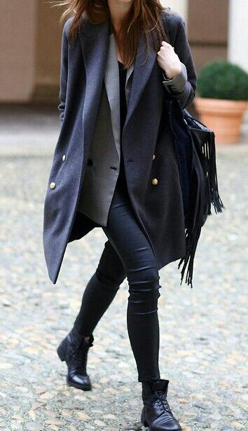 Caban + blazer gris + bottines