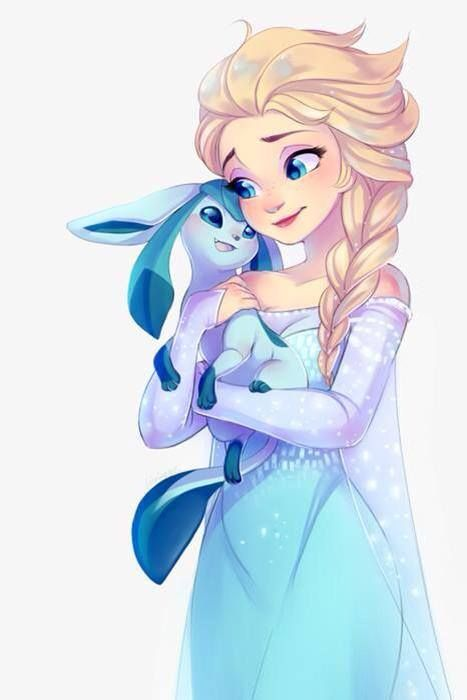 "Elsa and glaceon. So cute! I love it! MY HEART WILL STAY FROZEN IN LOVE WITH ""FROZEN"" Forever ;) :))"