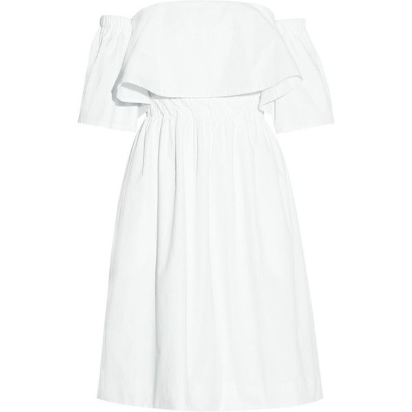 Paper London Katia off-the-shoulder cotton-poplin dress found on Polyvore featuring dresses, paper london, white, paper dresses, white zipper dress, loose fit dress, off shoulder dress and white dress