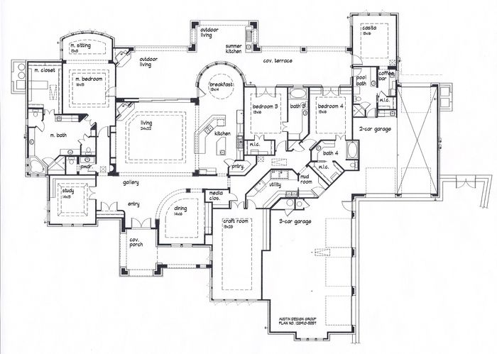 Floor plan with large kitchen and mudroom casita for House plans with craft room