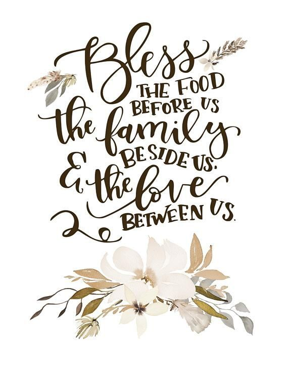 Bless the Food Before Us - Lettered Print Rustic Kitchen Ideas
