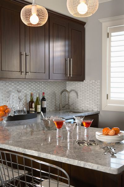 Suzie: Martha O'Hara Interiors - Chic small kitchen design with chocolate stained kitchen ...