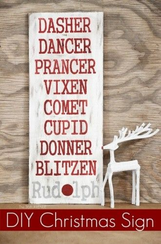 DIY Reindeer Christmas Sign - See heaps of impressive Christmas decorations!