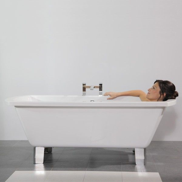 Riva 1670 Freestanding Bath, £259.00. A modern twist on the Riva 1670 Freestanding Bath, this version comes complete with chrome finished modern feet. The bath measures in at 1670mm in length, making it suitable for nearly every sized bathroom. Order now at - http://www.taps.co.uk/riva-1670-freestanding-bath.html